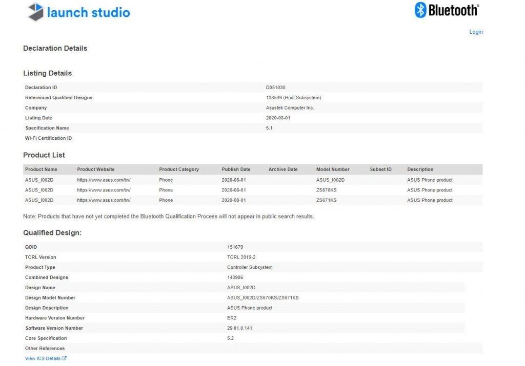 ASUS ZenFone 7 series Bluetooth SIG