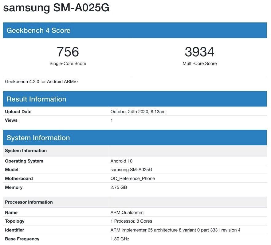 Samsung Galaxy A02s Geekbench